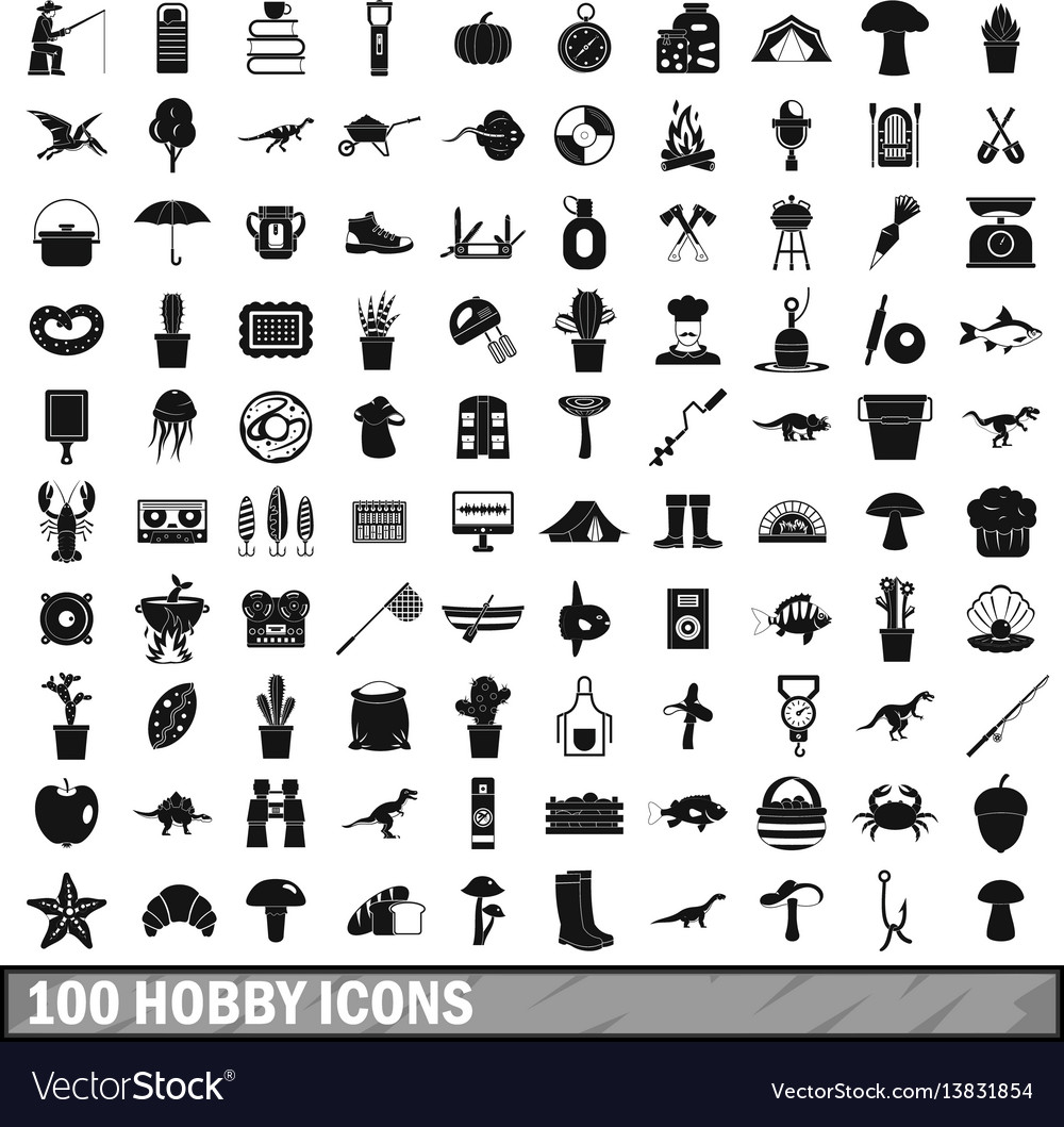 100 hobby icons set simple style