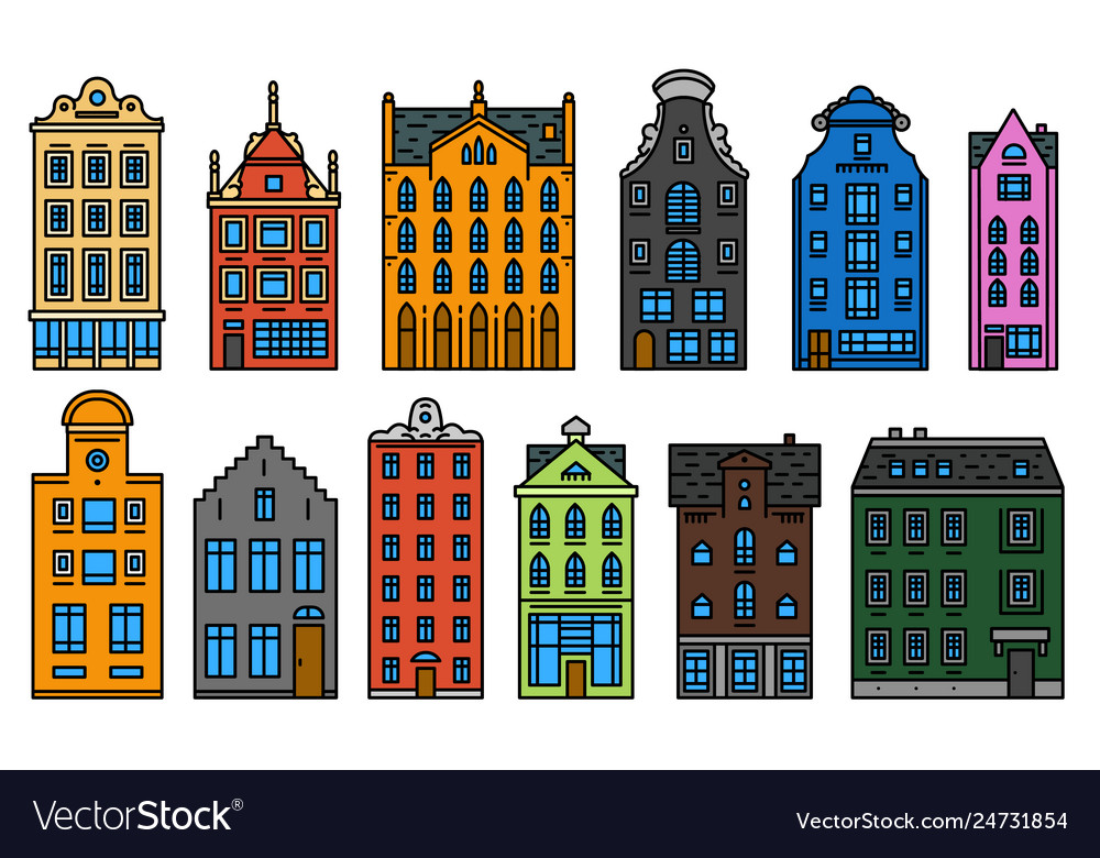 Europe house or apartments set of cute