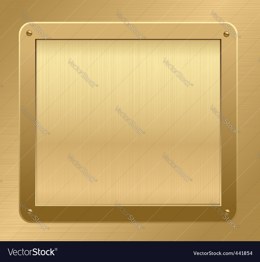 Gold metallic plaque background vector image