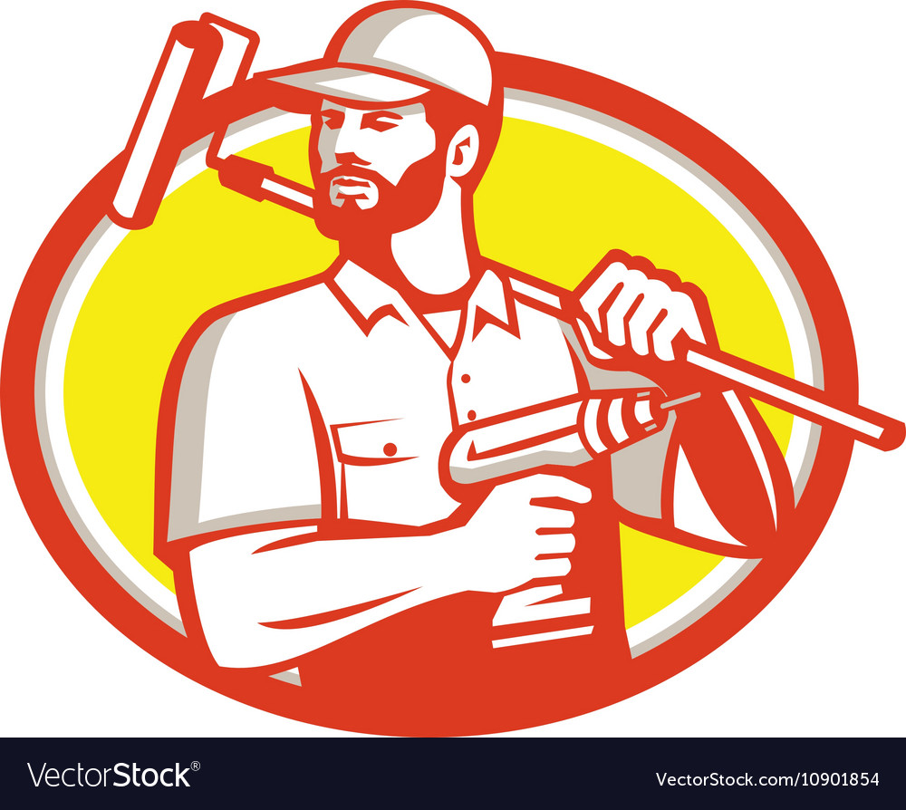 Handyman Cordless Drill Paintroller Oval Retro vector image
