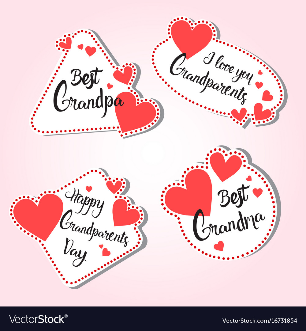 Happy grandparents day greeting card set of vector image m4hsunfo