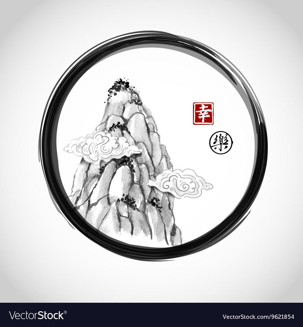 High mountain peak in black circle vector image