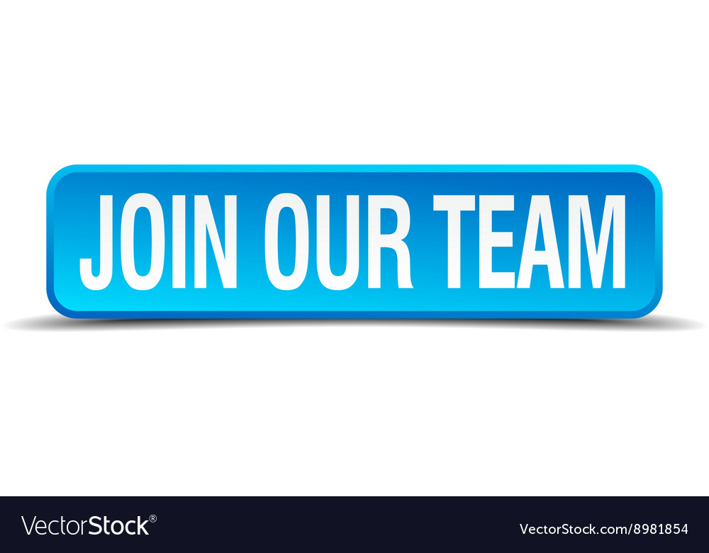 Join our team blue 3d realistic square isolated