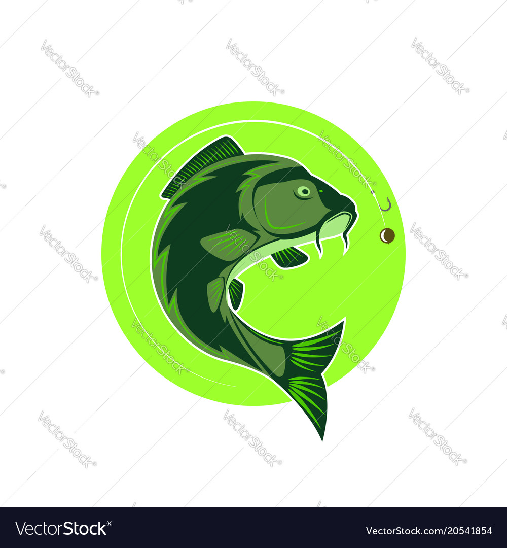 Logo carp fishing green round emblem fish icon vector image