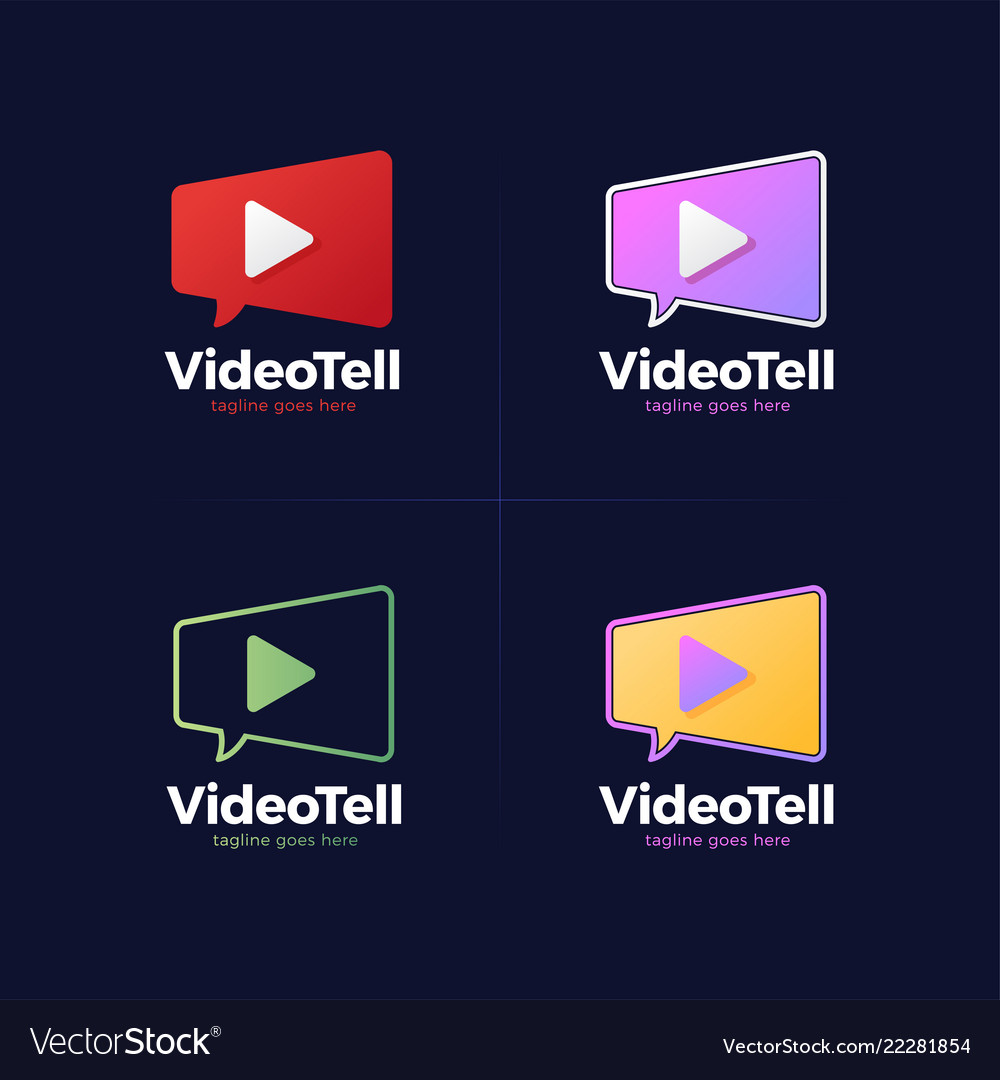 Movie chat logo template video camera and speech
