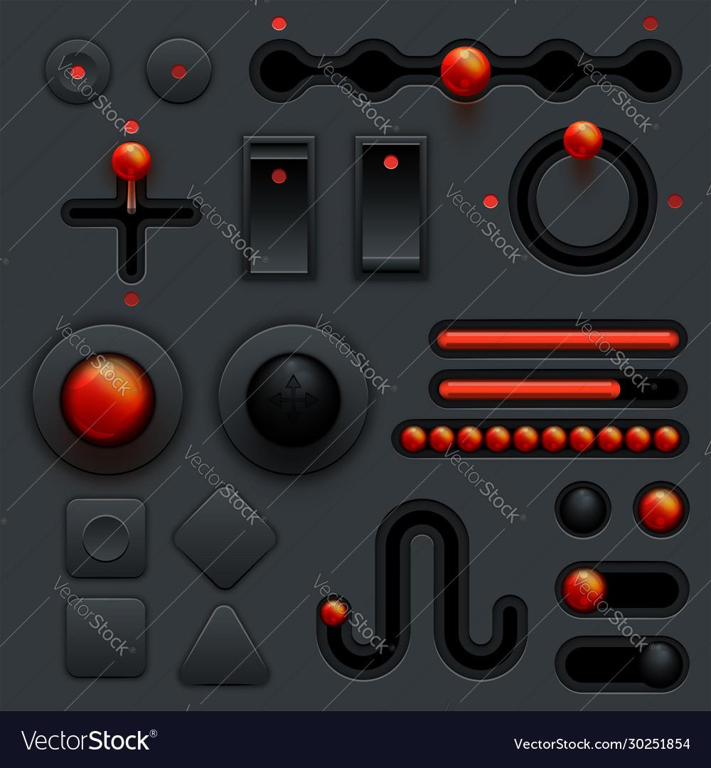 Neumorphic ui ux design elements set dark theme Vector Image