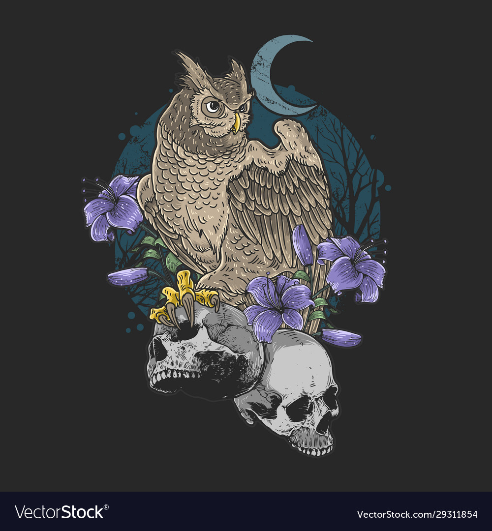 Owl bird floral with skull nightmare grunge backgr