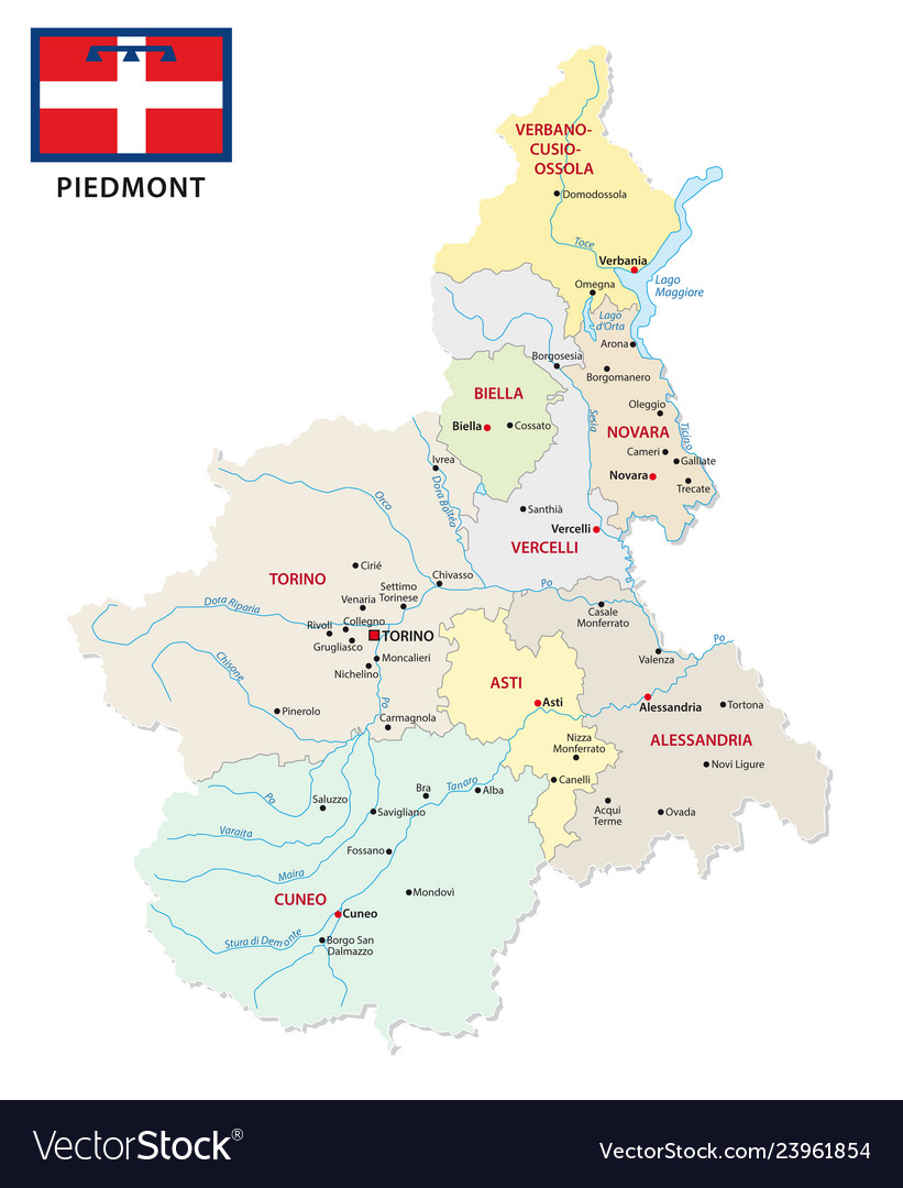 Piedmont administrative and political map with