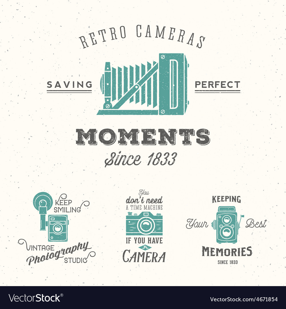 Retro Camera Photography Set Labels or