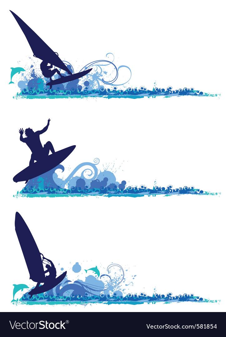 Surfing design elements vector image
