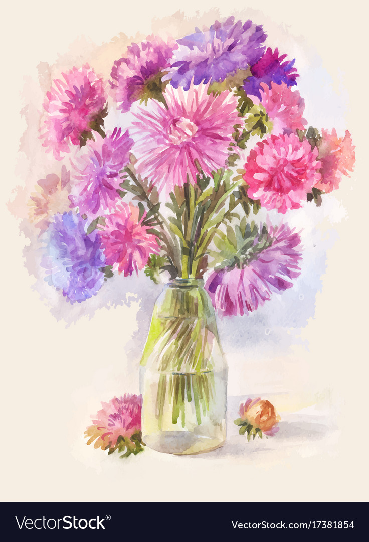 Watercolor bouquet of lilac aster royalty free vector image watercolor bouquet of lilac aster vector image izmirmasajfo