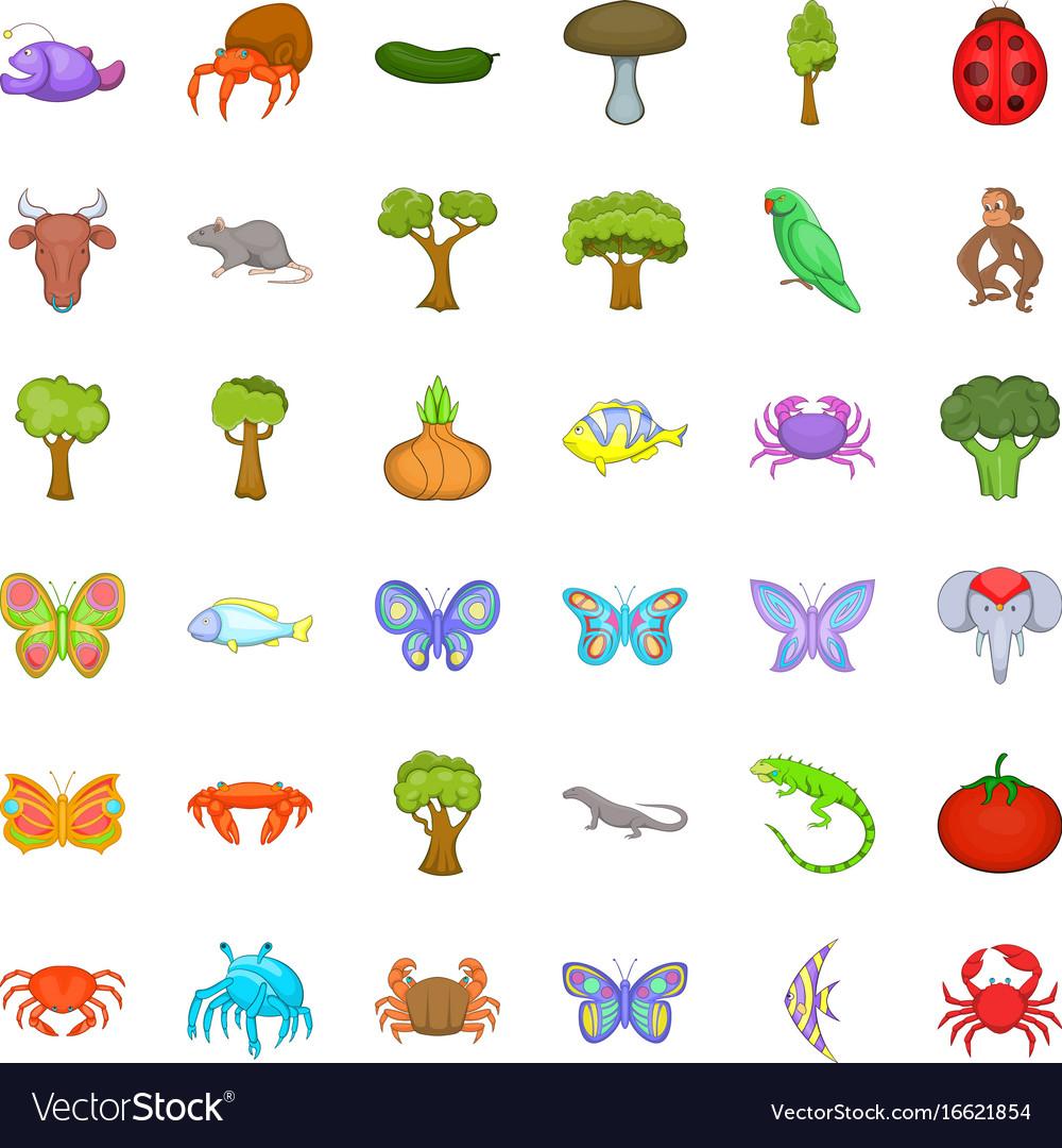 Wildlife icons set cartoon style