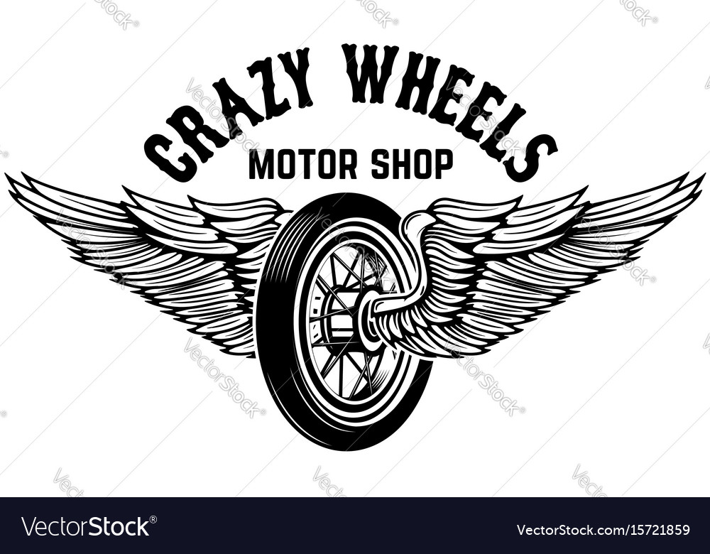 Crazy wheels motorcycle wheel with wings isolated