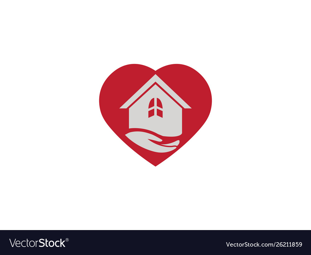 Hand and home in heart logo design