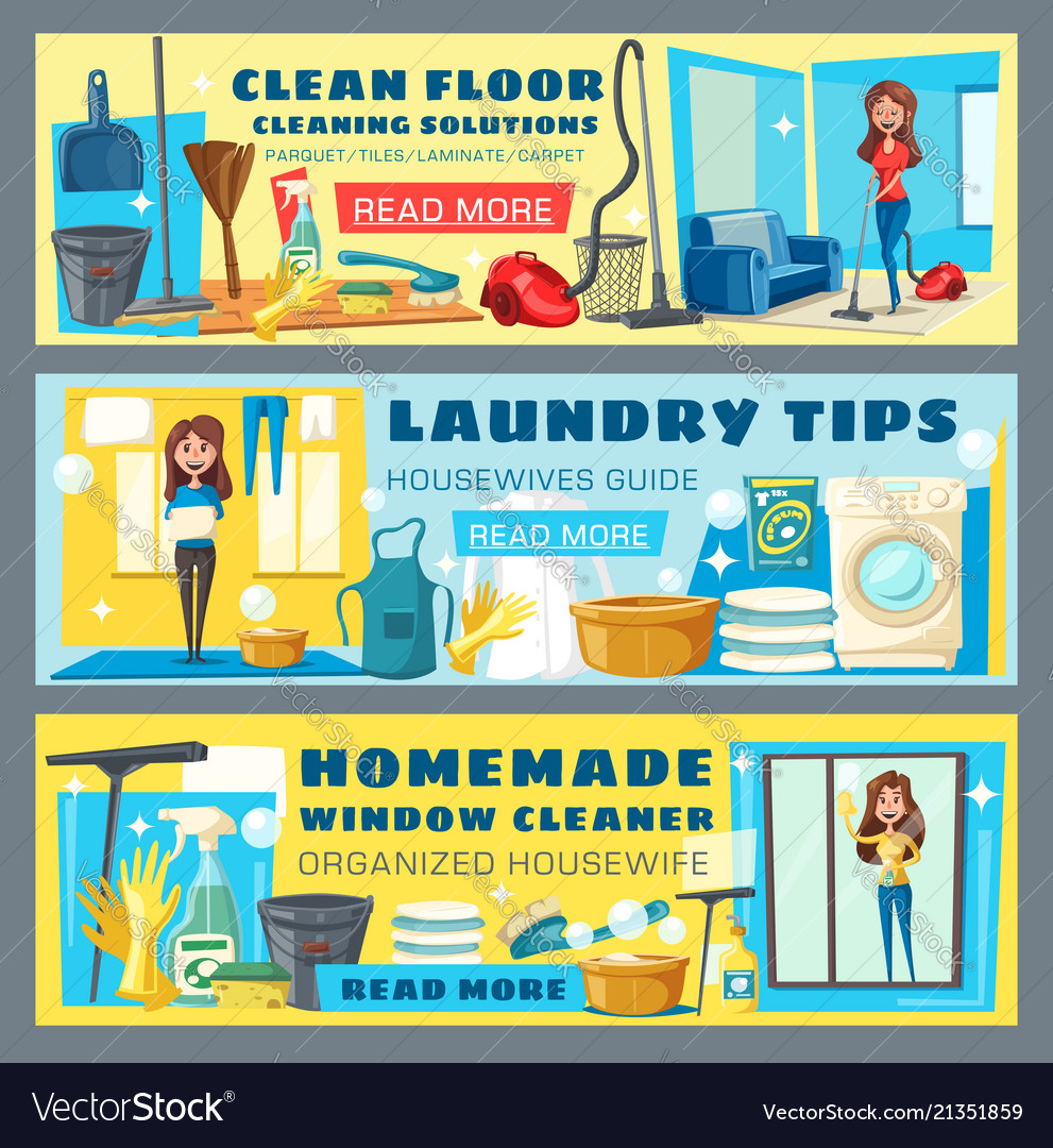 Housewife cleaning floor and laundry guide banners