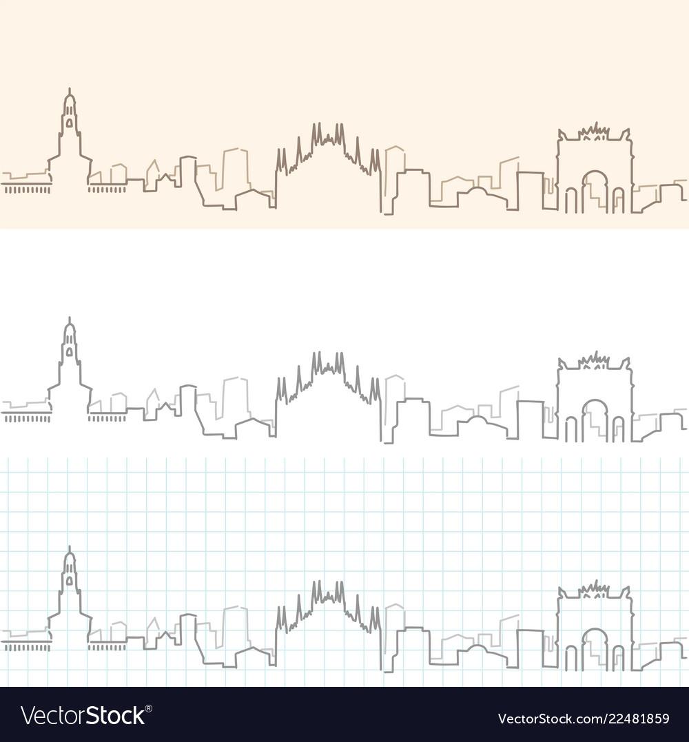 Milan hand drawn skyline