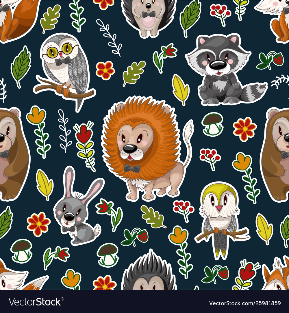 Seamless pattern with cute baanimals andflowers