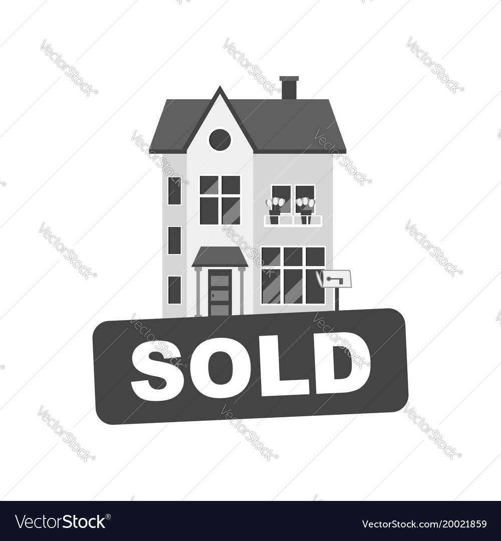 Sold sign with house home for rental in flat style