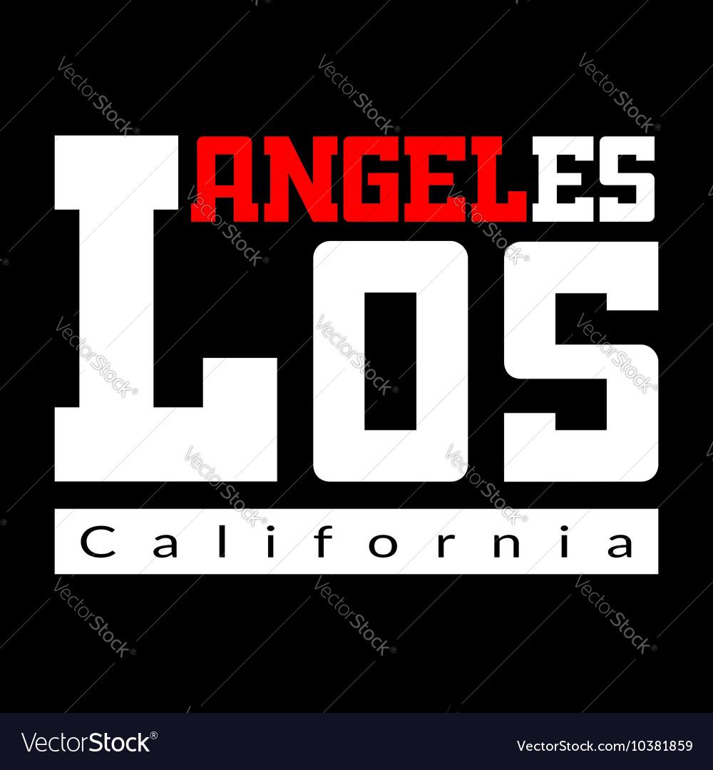 T shirt typography Los Angeles black
