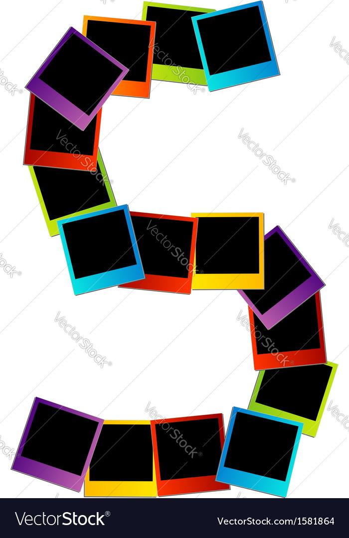Alphabet S with colorful polaroids