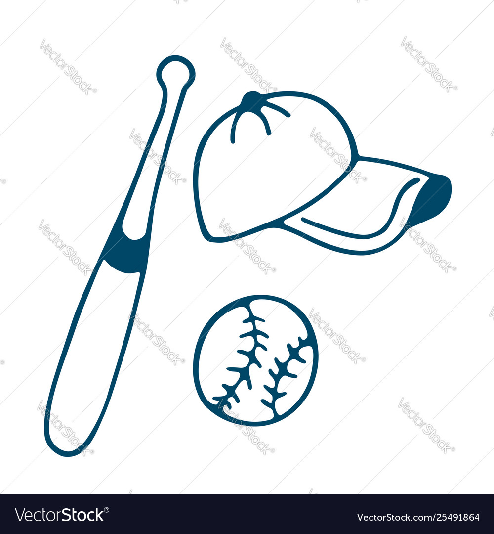 Baseball bat hat and ball icon in doodle style