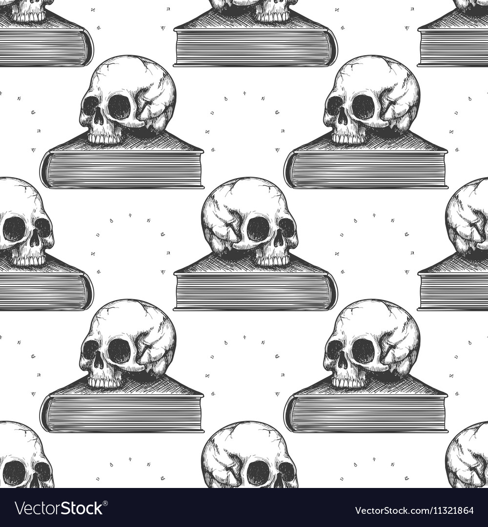 Book and human skull seamless pattern