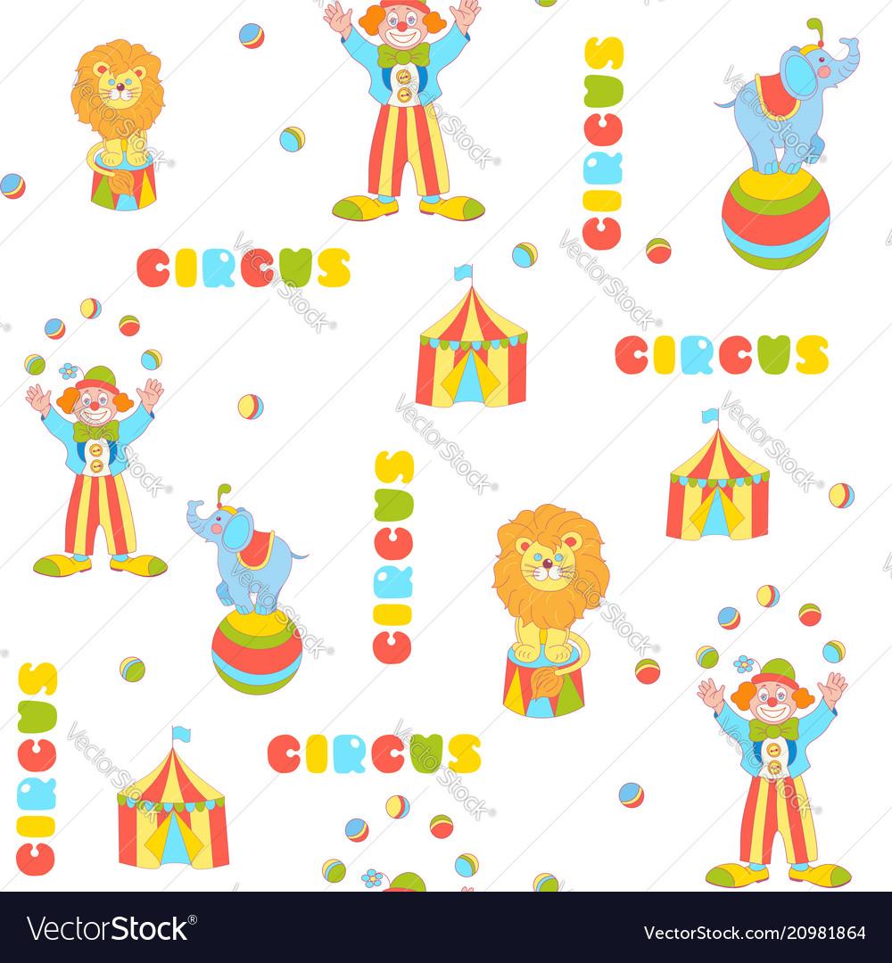 Cheerful circus seamless pattern