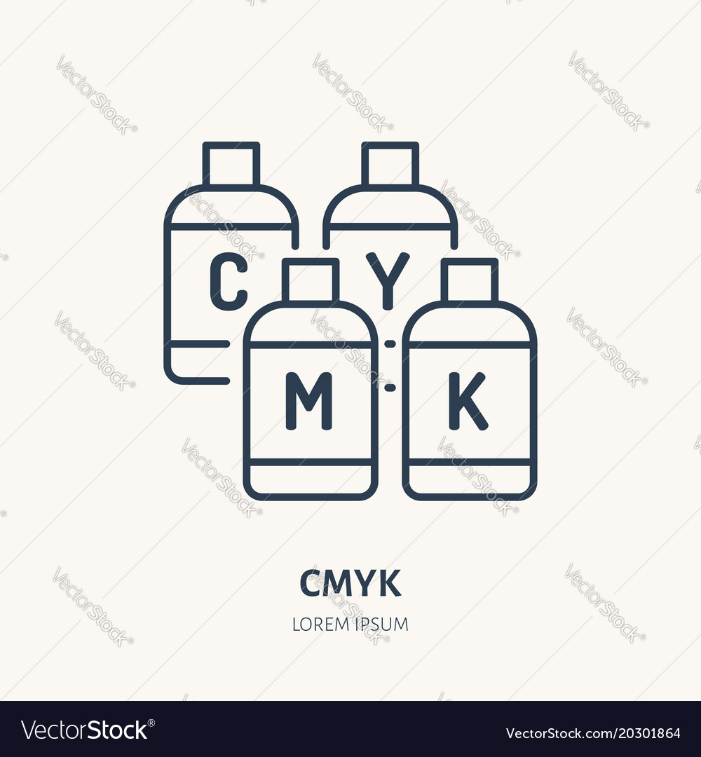 Cmyk colors flat line icon paint printer buckets vector image