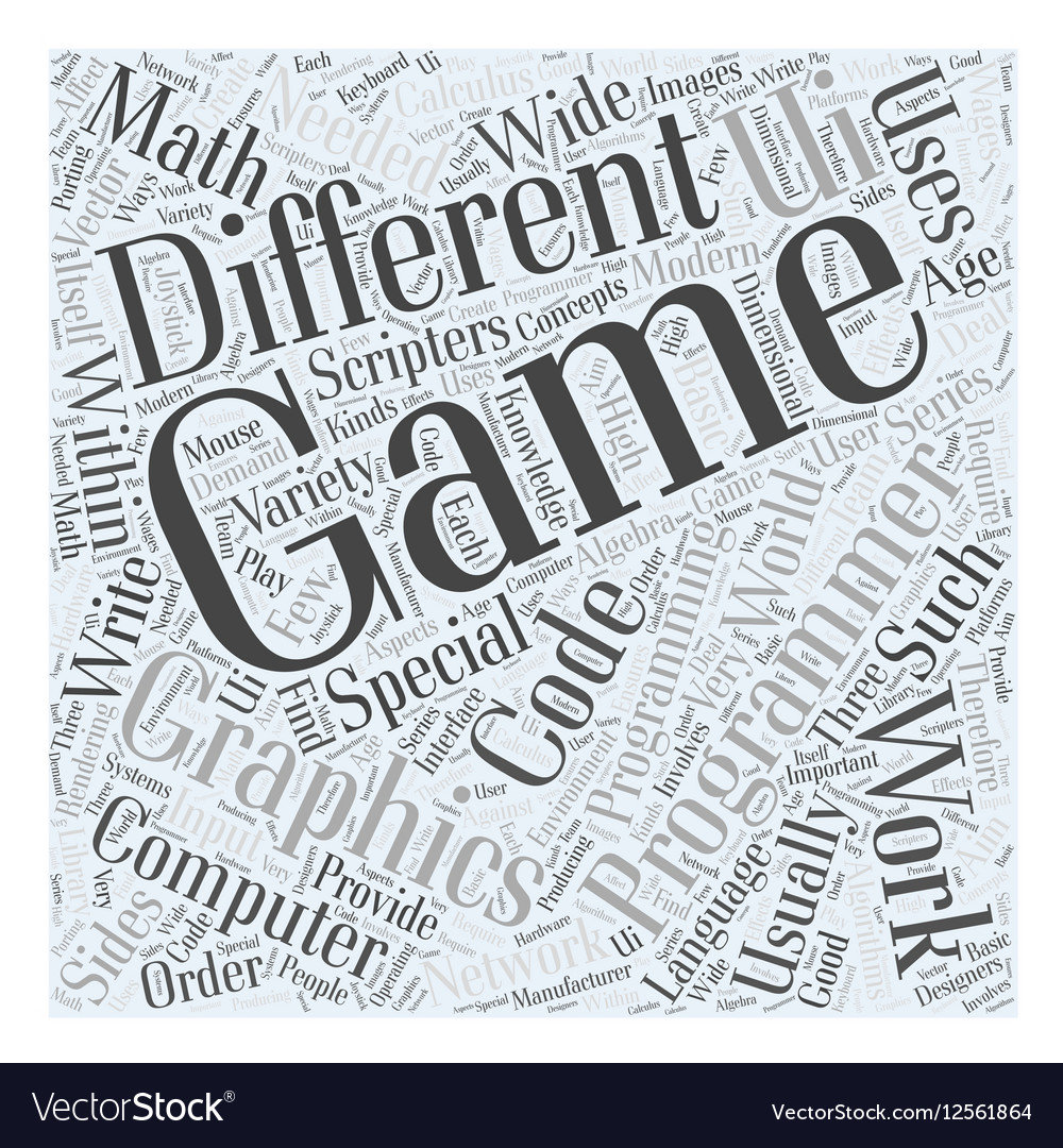 Computer game programming Word Cloud Concept vector image
