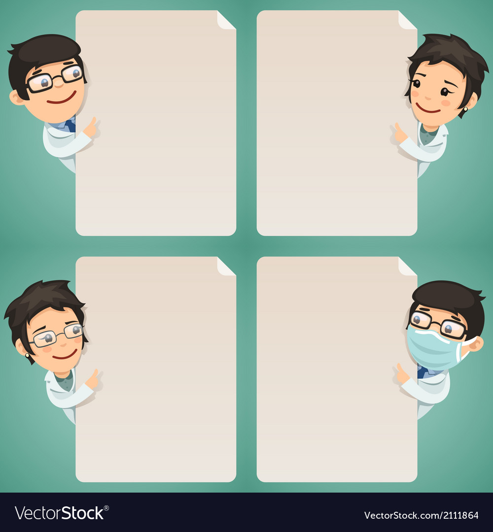 Doctors Cartoon Characters Looking at Blank Poster