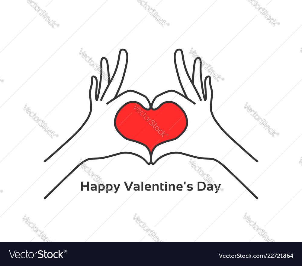Hand gesture heart like happy valentines day