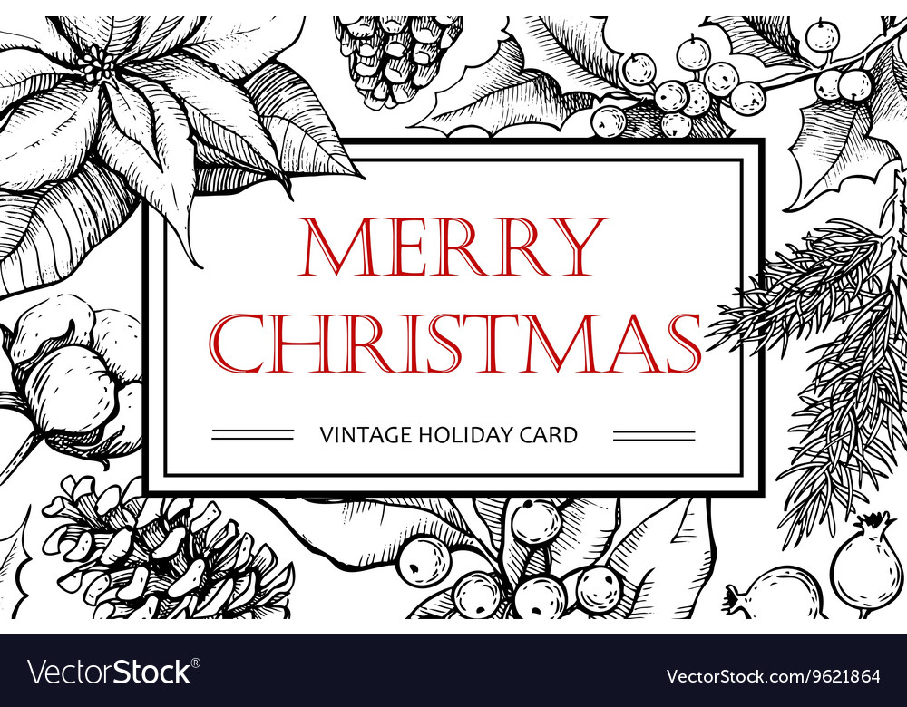 Merry Christmas hand drawn vintage