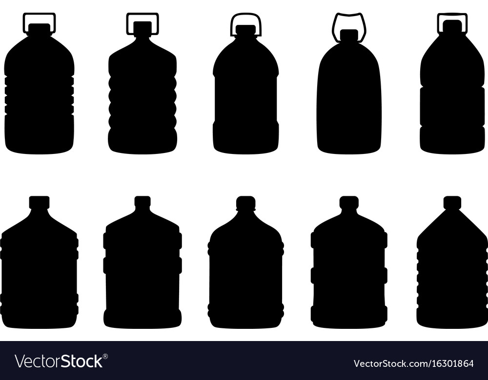 Set of silhouettes of big water bottles