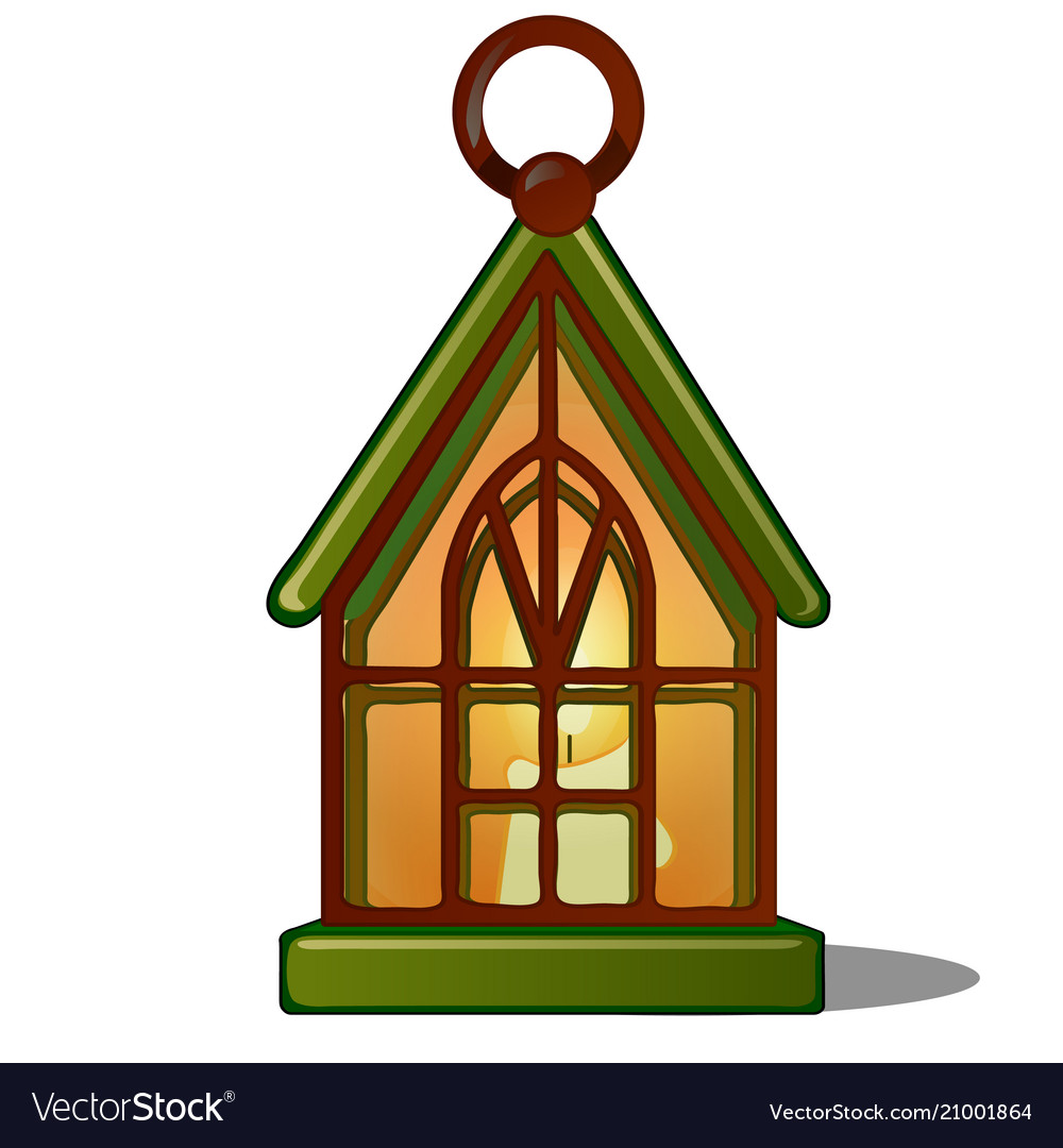The lamp in the shape of the house with a candle