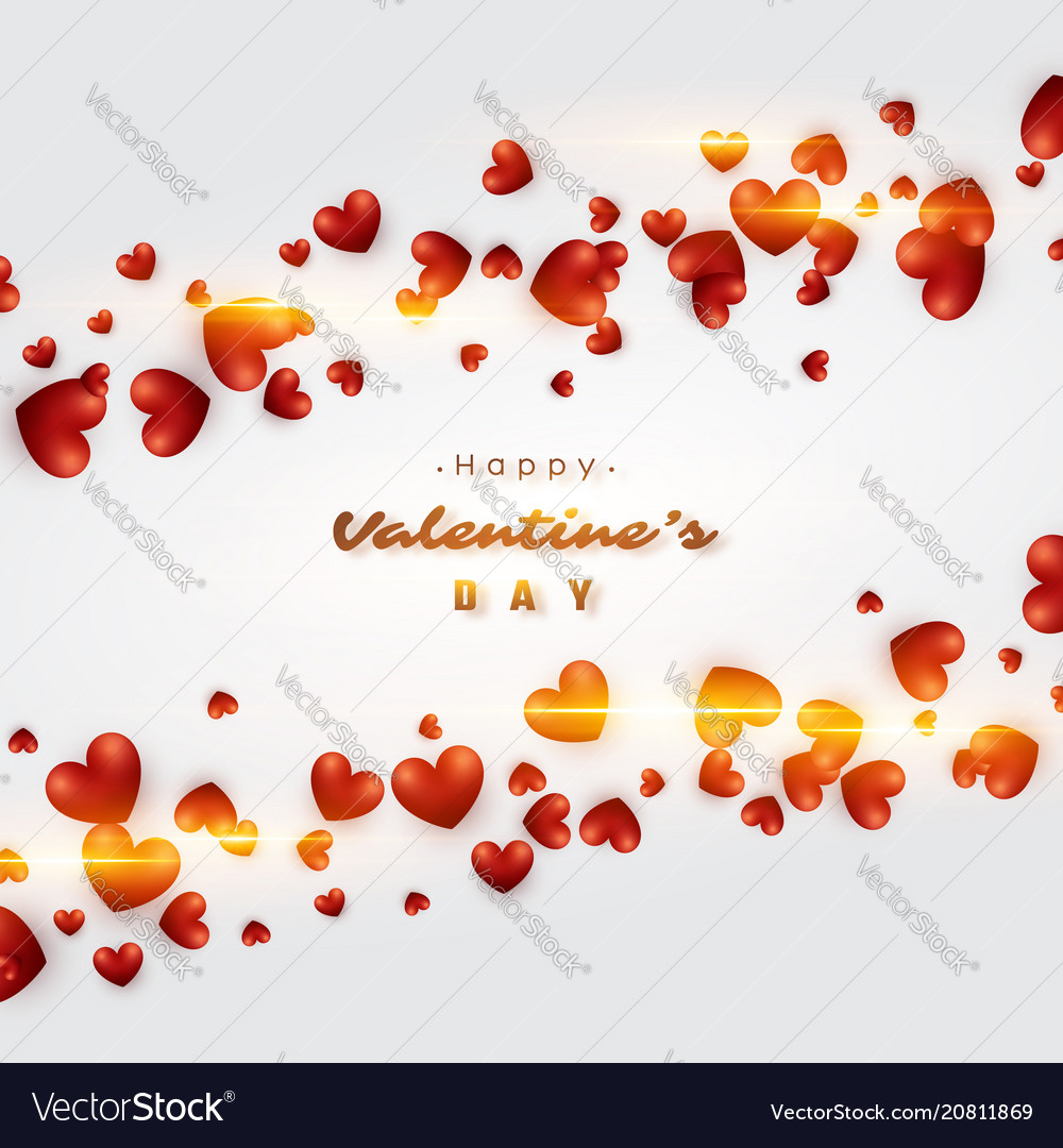3d realistic red hearts background