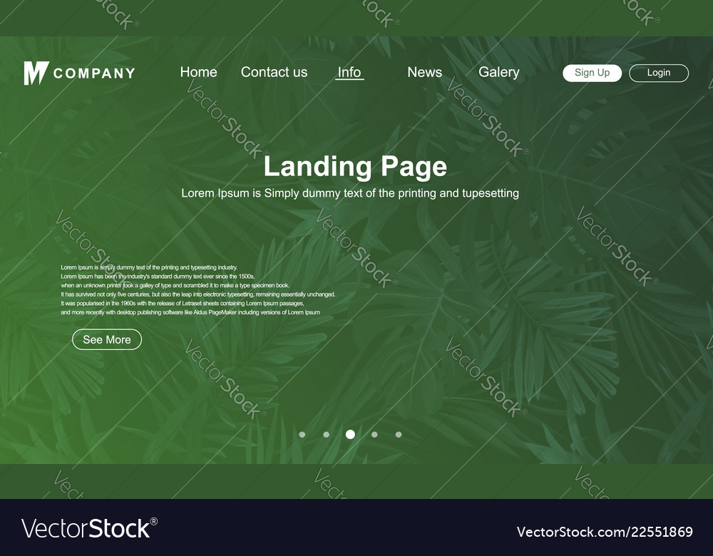 Abstract green nature landing page design