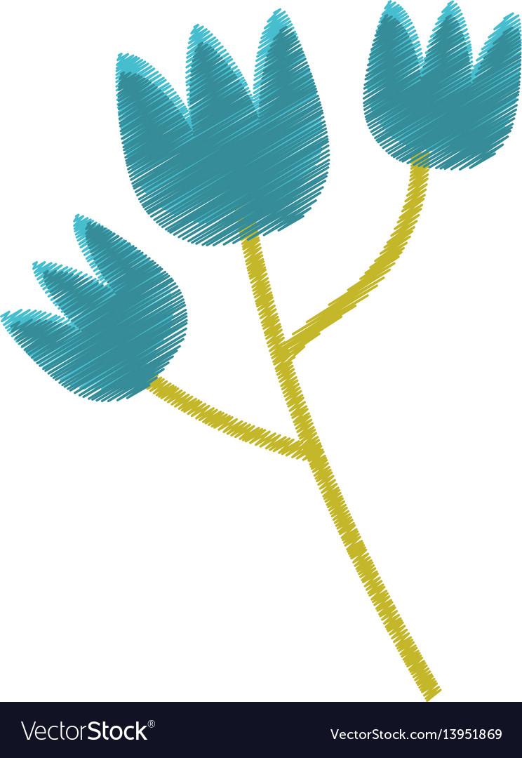 Blue tulip flower spring sketch