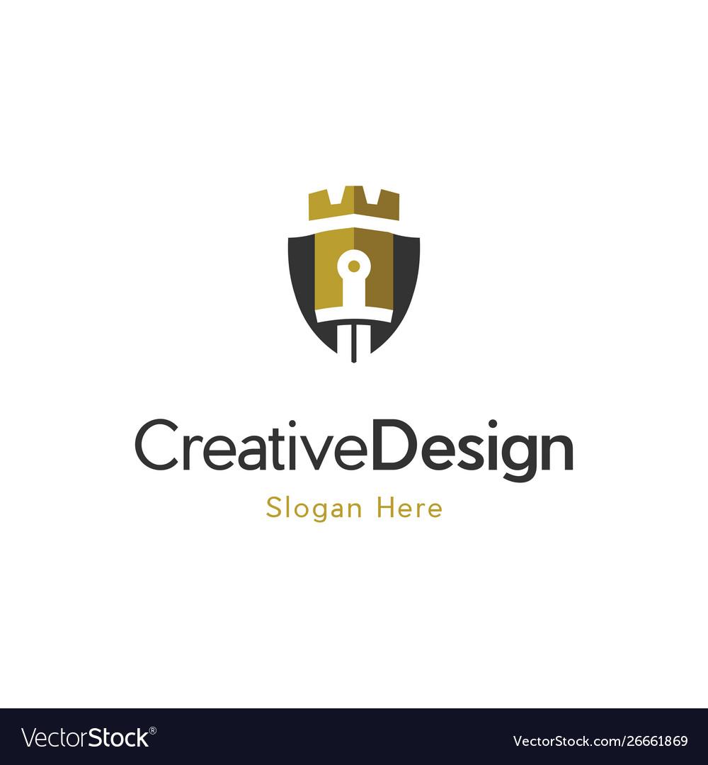 Castle shield protection logo design vector image