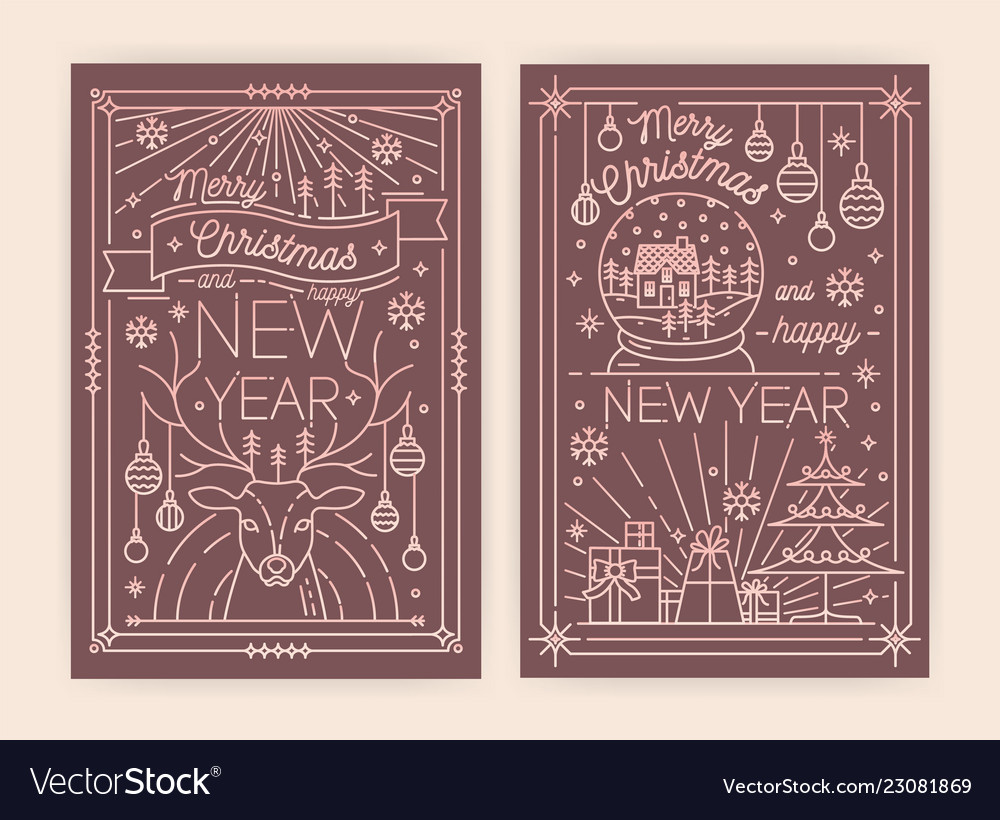 christmas and new year greeting card templates vector image