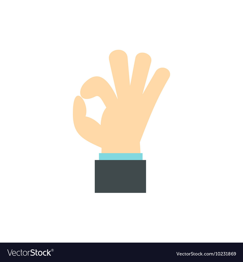 Gesture okay icon flat style