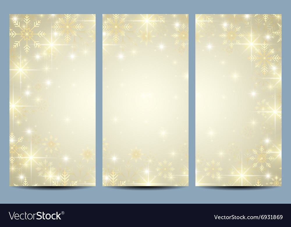 Happy New Year flyers with golden snowflakes vector image