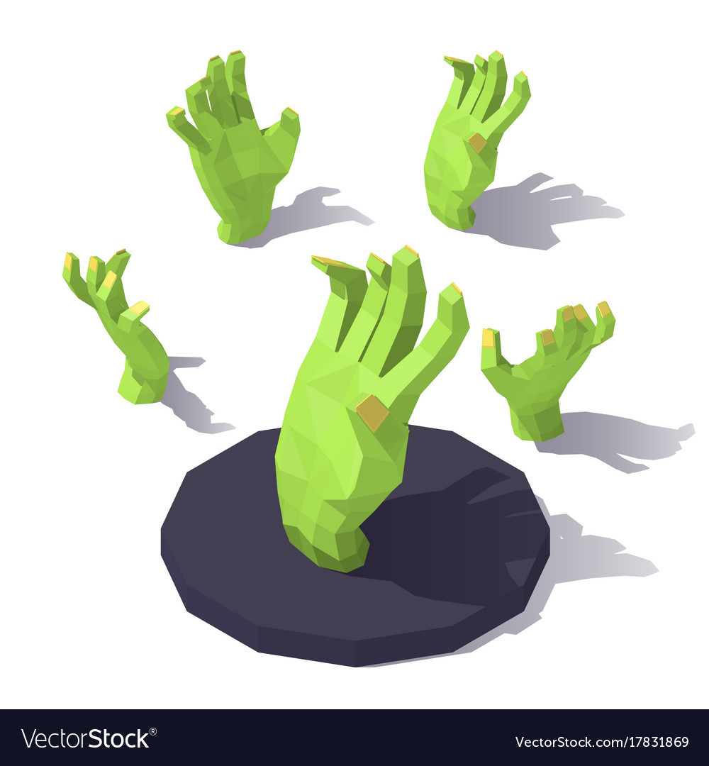 Low poly hand of the zombie