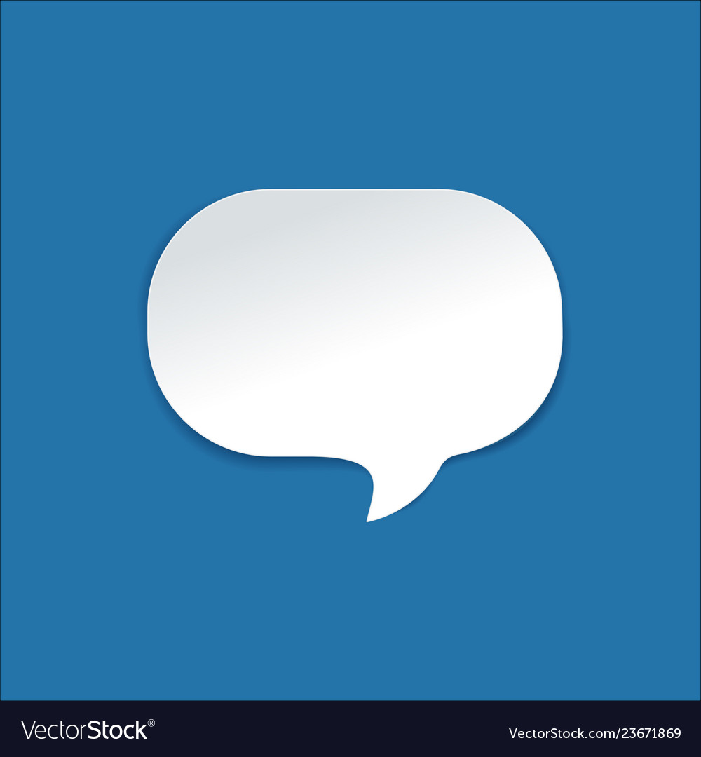 Paper speech bubble with round corners on bright