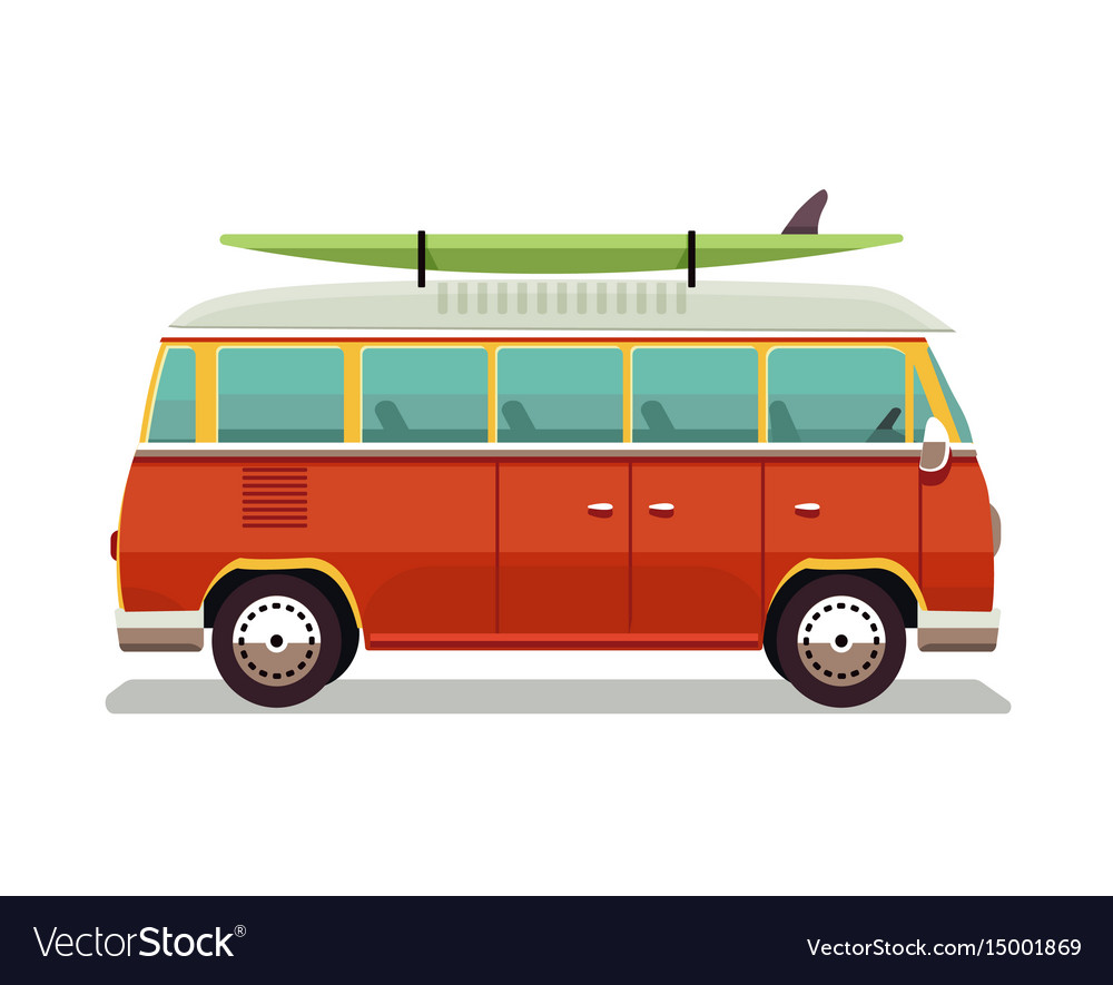Retro travel red van icon in