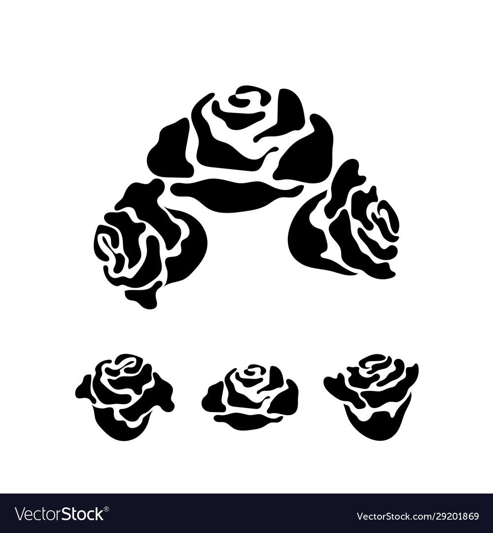 Rose flower monochrome pattern for tattoo