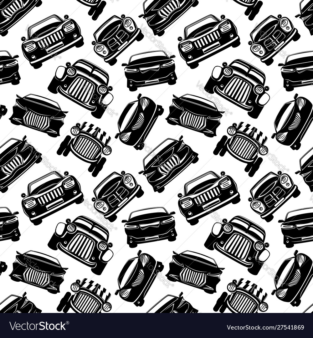 Seamless pattern with black cars