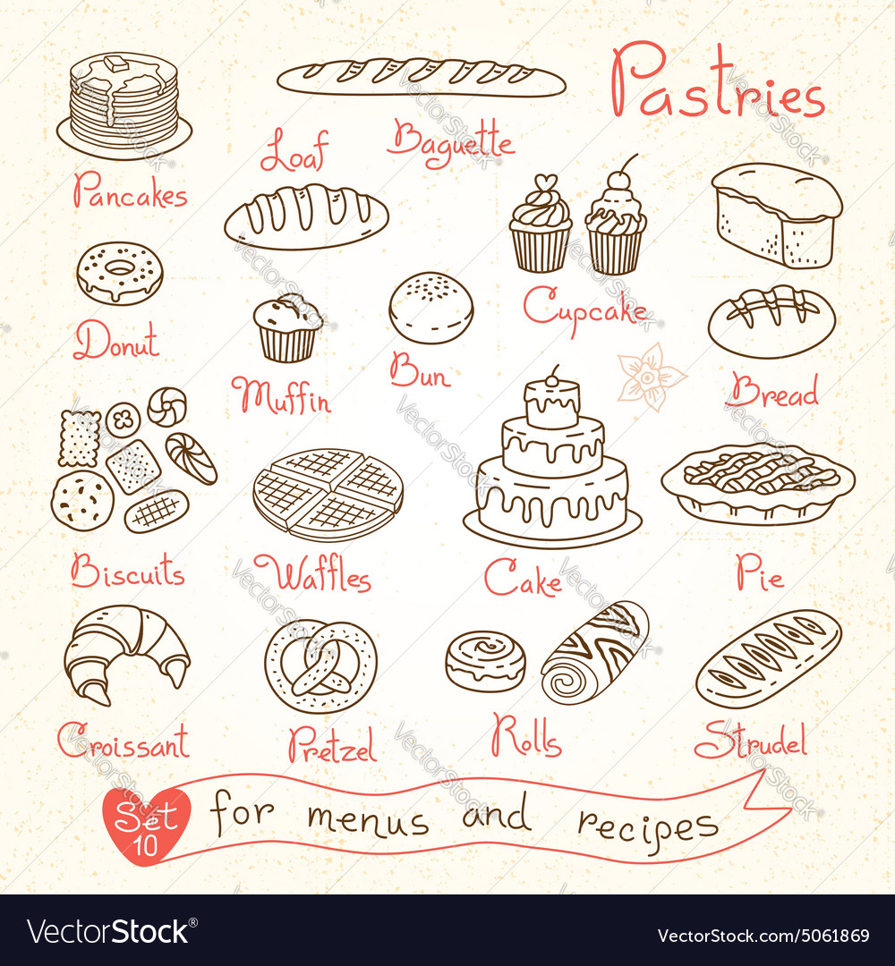 Set drawings of pastries and bread for design