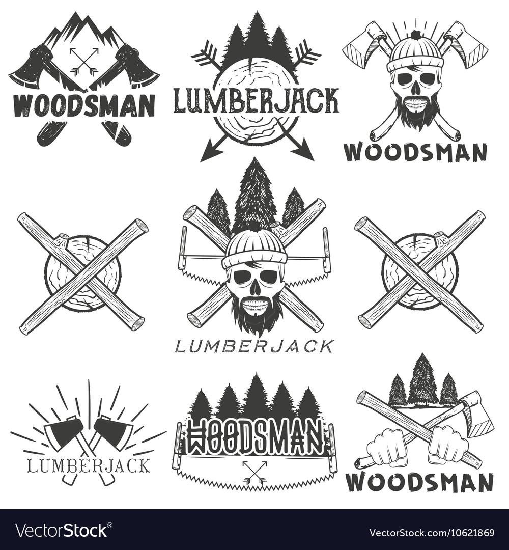 Set lumberjack logos emblems banners