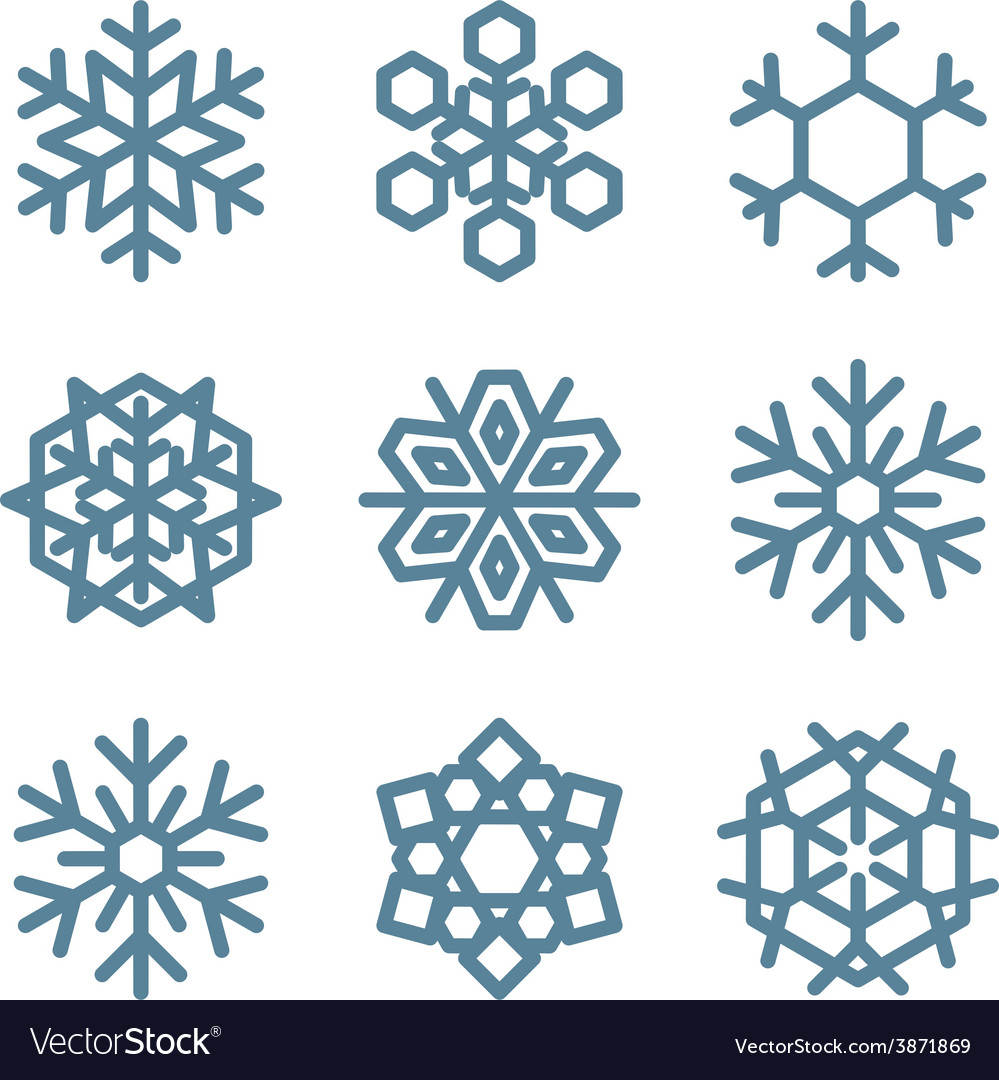 Set of Nine Snowflakes thin line ftat design