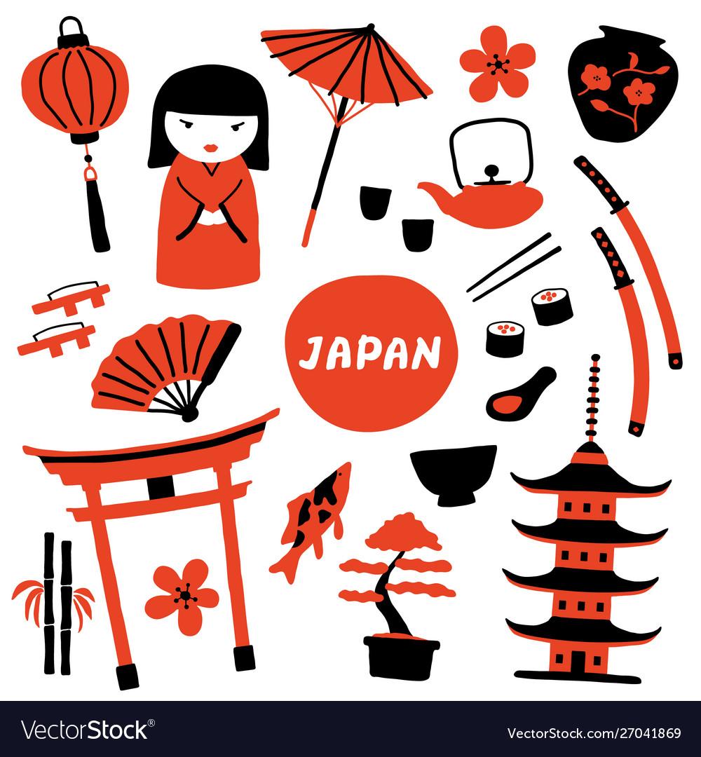 Set traditional japanese symbols travel
